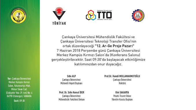 Çankaya Üniversitesi 12. Ar-Ge Proje Pazarı 7 Haziran 2018 Perşembe Günü Gerçekleşecektir!
