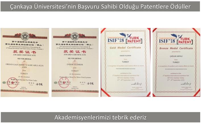"""Çankaya Üniversitesi'nin Başvuru Sahibi Olduğu Patentler """"Çin Buluş Fuarı"""" ve """"3. İstanbul Uluslararası Buluş Fuarı""""nda Altın Gümüş ve Bronz Madalya Kazandı"""