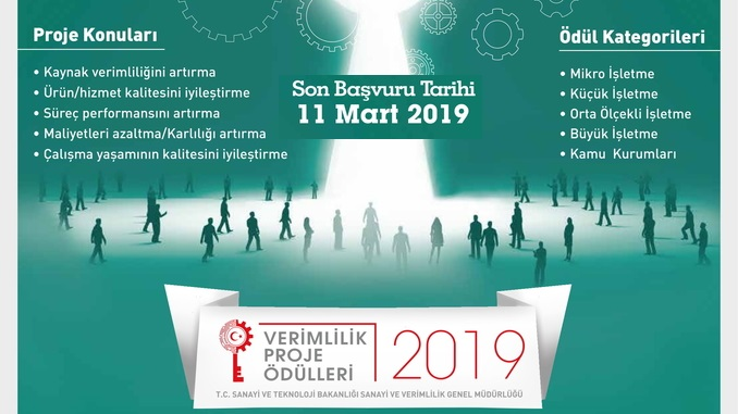 2019 Verimlilik Proje Ödülleri! Son Başvuru Tarihi: 11 Mart 2019
