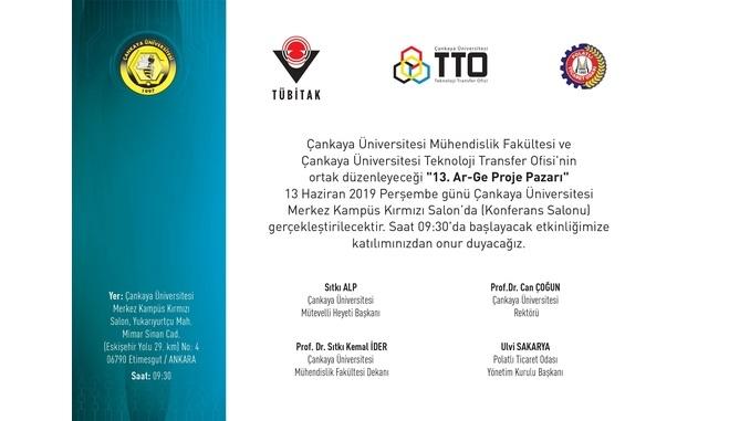 Çankaya Üniversitesi 13. Ar-Ge Proje Pazarı 13 Haziran 2019 Perşembe Günü Gerçekleşecektir!