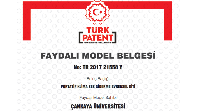 Çankaya Üniversitesinin Başvuru Sahibi Olduğu Buluş Faydalı Model Belgesi Aldı!