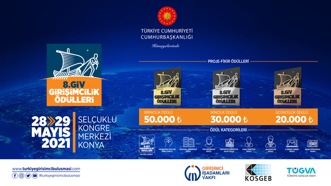 """28-29 Mayıs 2021'de Gerçekleşecek """"Türkiye Girişimci Buluşma Zirvesi ve Sergisi"""" Kapsamında 8. GİV Girişimcilik Ödülleri İçin Başvurular Alınmaktadır!"""