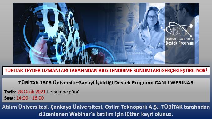 TÜBİTAK 1505 Üniversite-Sanayi İşbirliği Destek Programı Tanıtım Webinarı 28 Ocak 2021 Tarihinde Gerçekleşecek!