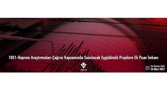 TÜBİTAK 1001-Deprem Araştırmaları Çağrısı Kapsamında Sunulacak Eşgüdümlü Projelere Ek Puan İmkânı