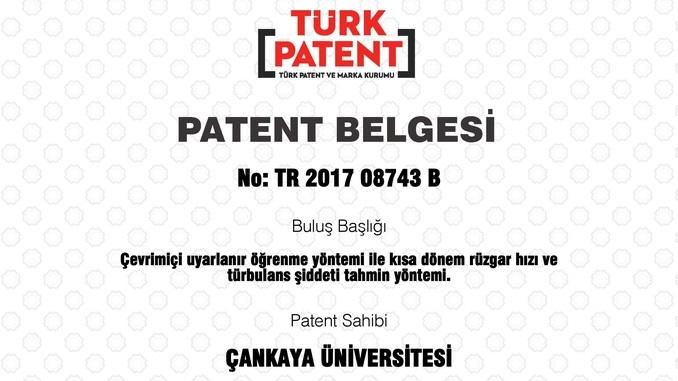 """Çankaya Üniversitesi'nin """"Çevrimiçi Uyarlanır Öğrenme Yöntemi ile Kısa Dönem Rüzgar Hızı ve Türbulans Şiddeti Tahmin Yöntemi"""" Başlıklı Patenti Tescil Edildi!"""