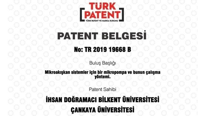 """Çankaya Üniversitesi ve Bilkent Üniversitesi'nin """"Mikroakışkan Sistemler İçin Bir Mikropompa ve Bunun Çalışma Yöntemi"""" Başlıklı Patenti Tescil Edildi!"""
