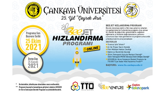 Çankaya Üniversitesi BeeJet Hızlandırma Programı (Online) Başlıyor! Başvuru Son Tarihi: 25 Ekim 2021, Demo Day: 25 Kasım 2021